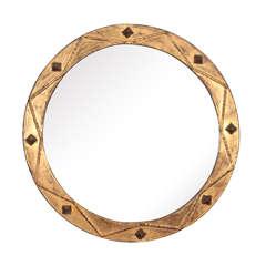 Gilt Iron Mirror with Geometric Design