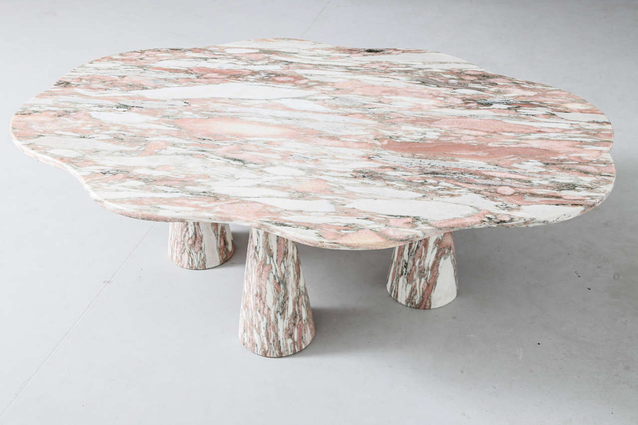 Stunning Italian Marble Coffee Table in Style of Mangiarotti 2