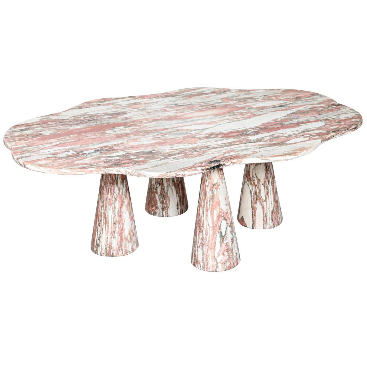 Stunning Italian Marble Coffee Table in Style of Mangiarotti 1