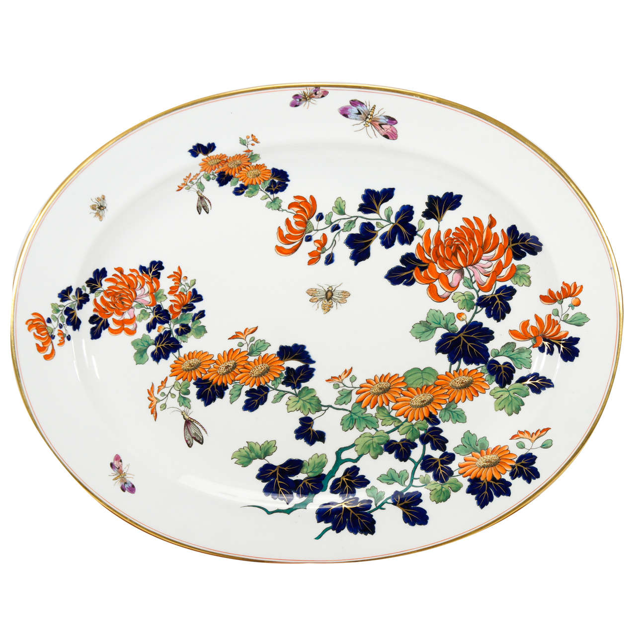"""Monumental English """"Imari"""" Decorated Platter with Butterflies For Sale"""