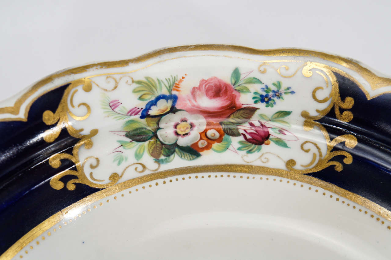 Porcelain Chamberlain's Worcester Hand Painted Botanical Serving Pieces For Sale