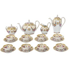 Lamm Dresden Hand-Painted Tea and Coffee Service Eight Cups and Saucers