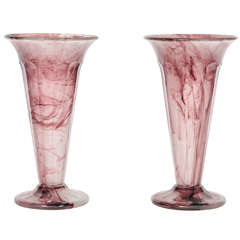 A Pair of Davidson Cloud Glass Vases