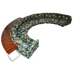 Milo Baughman Circular Sofa with Rosewood Console Tables