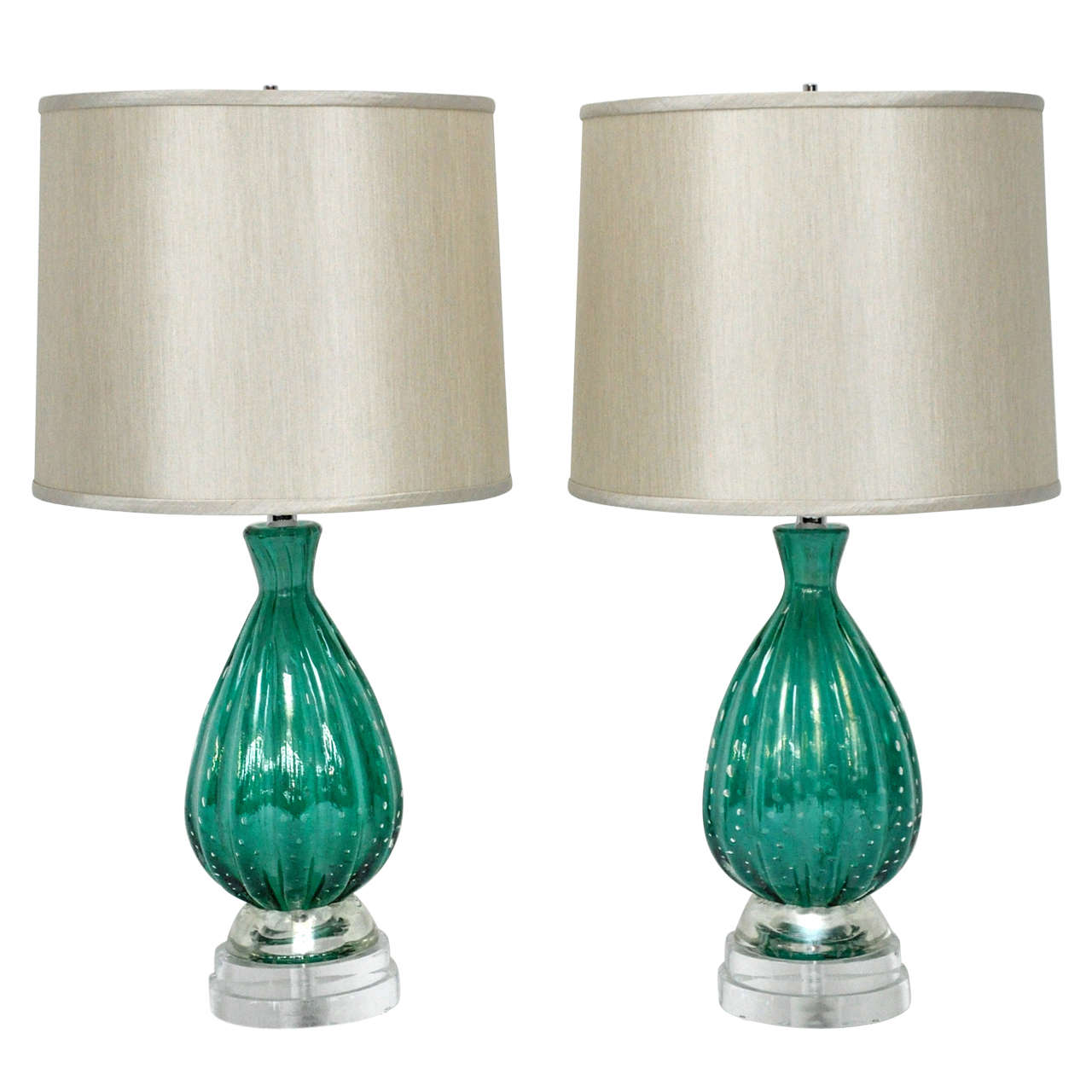 Turquoise Murano Glass Lamps by Barovier