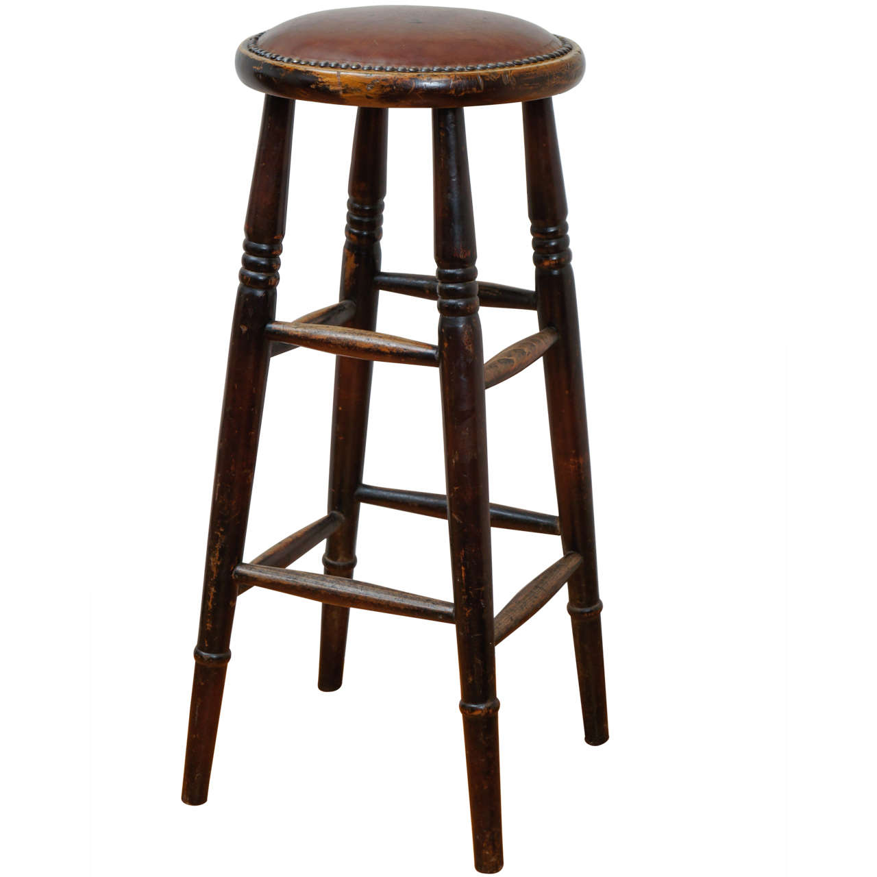 Unique English Leather Seat Pub Stool At 1stdibs