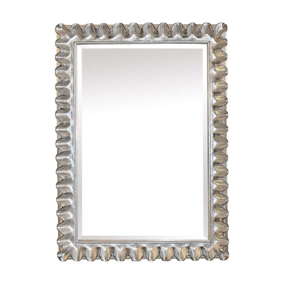 Silver leaf fluted framed mirror at 1stdibs for Silver framed mirror