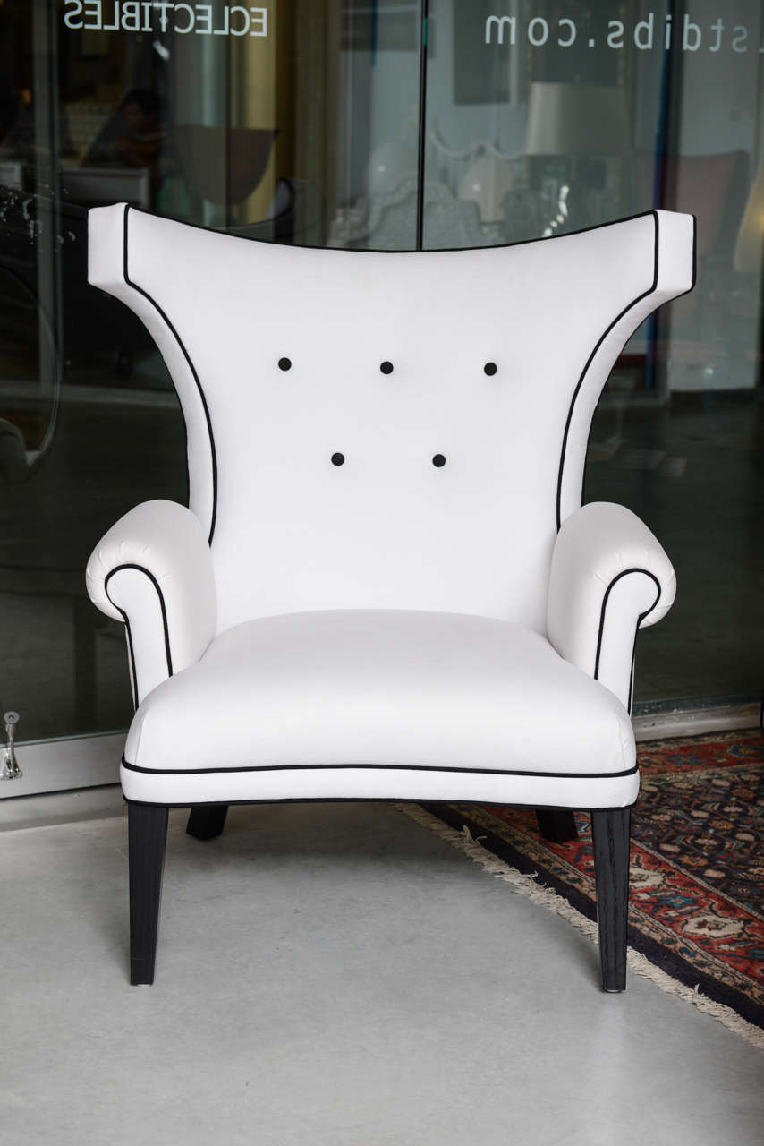 "Beautiful custom ""Dorothy Draper"" style salon chairs designed by Susane R., locally produced in Miami.