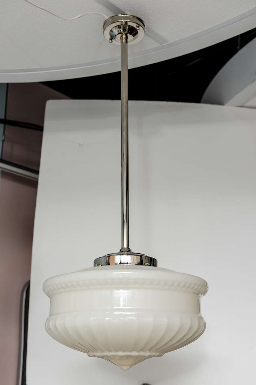 Large pendant. Sculptured milkglass. Restored and rewired. 100W bulb.RESTORED