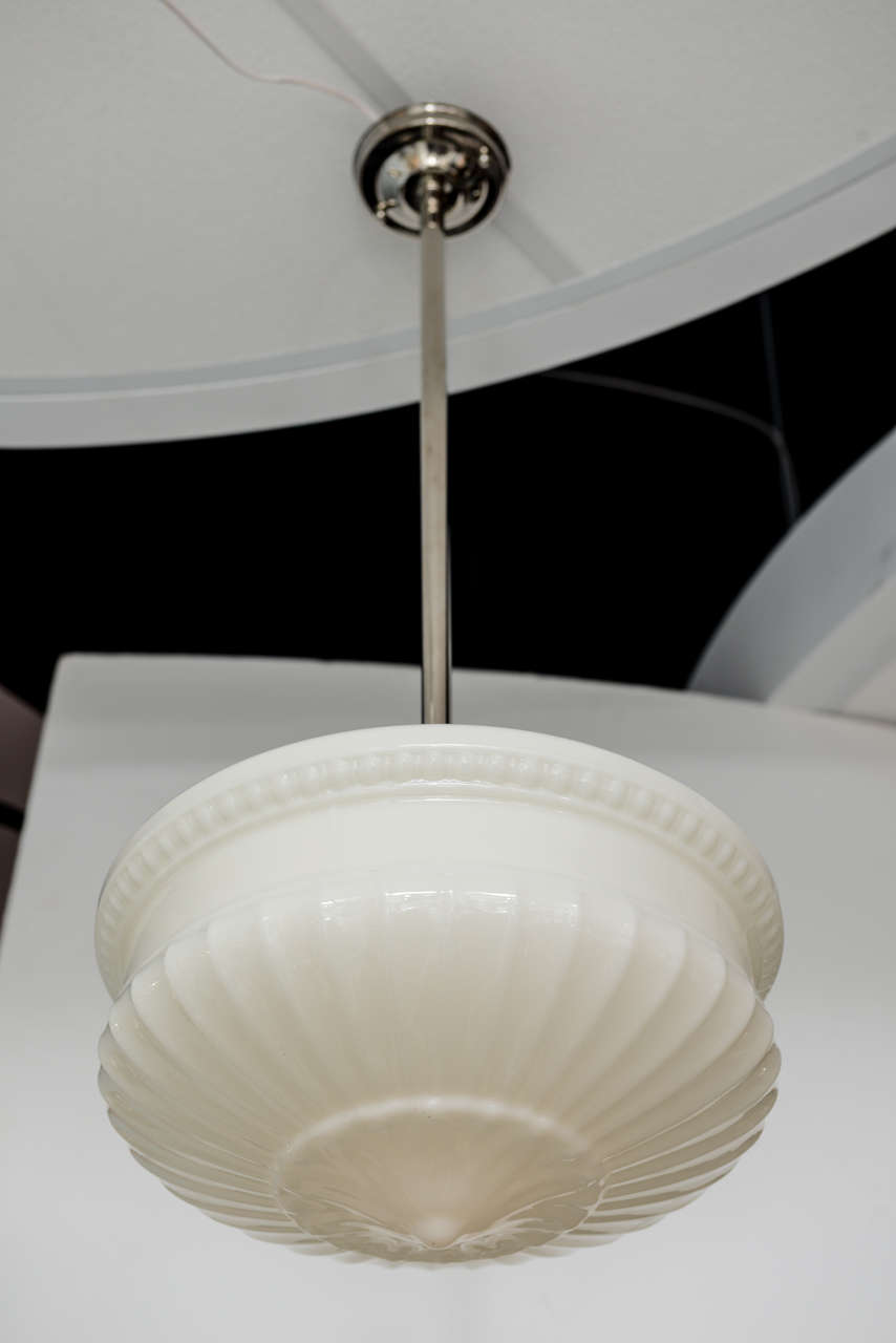 French FRENCH DECO PENDANT WHITE HUGE, restored MOVING SALE elegant from3500 1800 For Sale