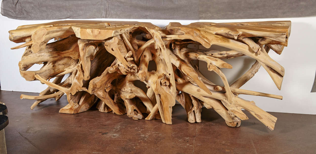 Large Organic Form Lychee Wood Console Table At Stdibs - Tree trunk console table