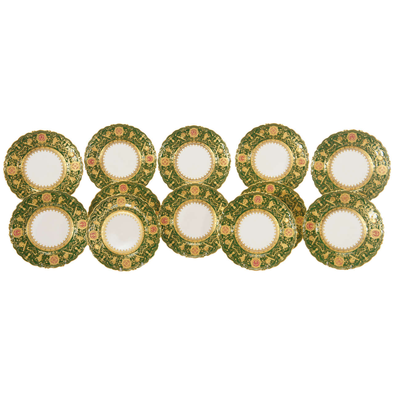 Set of 12 Coalport Green Dessert Plates w/ Neoclassical Raised Gold Medallions For Sale