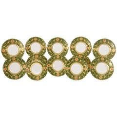 Set of 12 Coalport Green Dessert Plates w/ Neoclassical Raised Gold Medallions