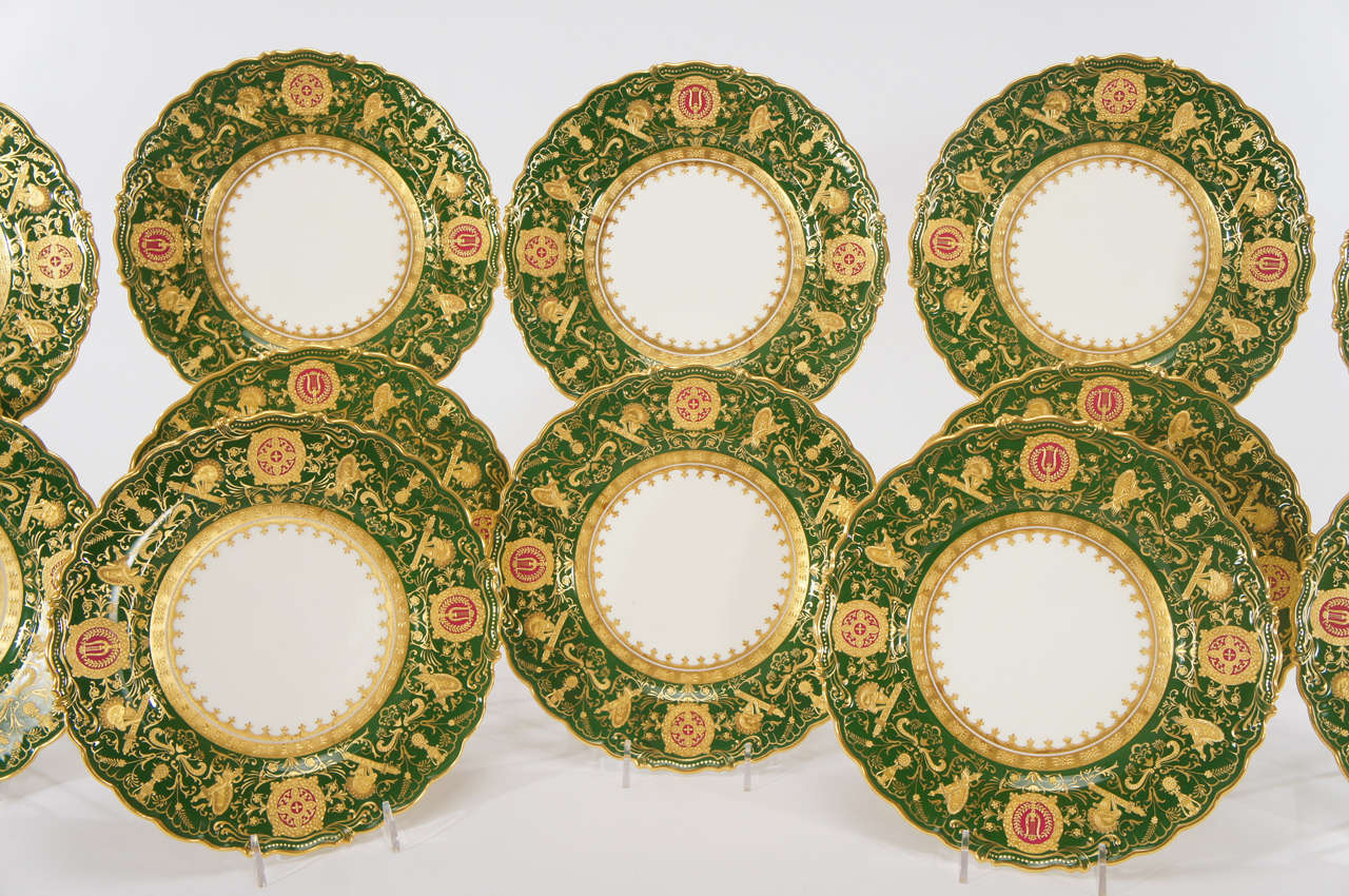 English Set of 12 Coalport Green Dessert Plates w/ Neoclassical Raised Gold Medallions For Sale