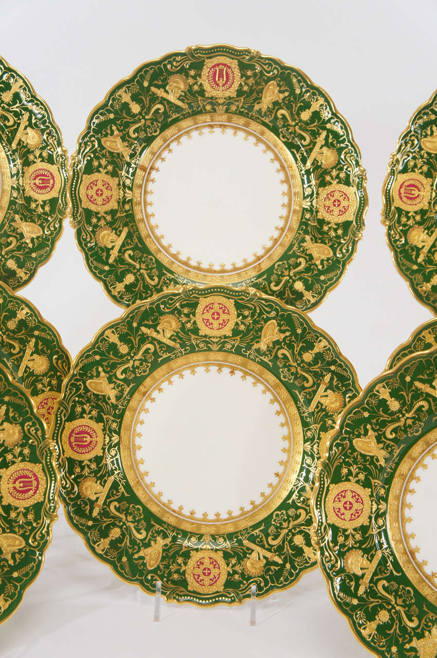 Gilt Set of 12 Coalport Green Dessert Plates w/ Neoclassical Raised Gold Medallions For Sale