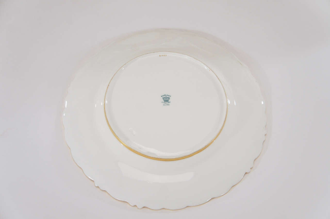 Set of 12 Coalport Green Dessert Plates w/ Neoclassical Raised Gold Medallions For Sale 1
