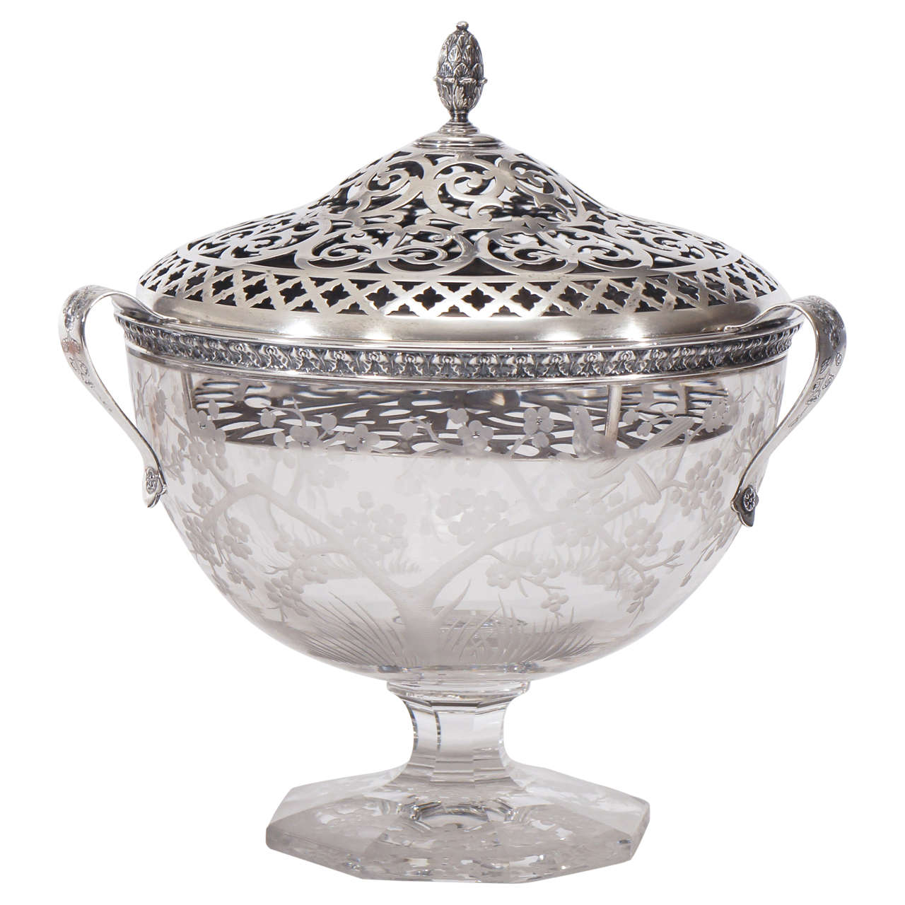 Hawkes Centerpiece with Gorham Sterling Silver Mount and Flower Frog-Grogan Co. For Sale