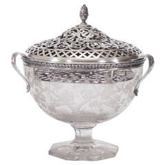 Hawkes Centerpiece with Gorham Sterling Silver Mount and Flower Frog-Grogan Co.