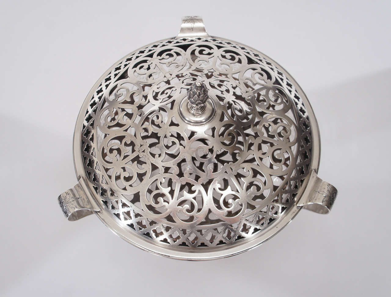 Aesthetic Movement Hawkes Centerpiece with Gorham Sterling Silver Mount and Flower Frog-Grogan Co. For Sale