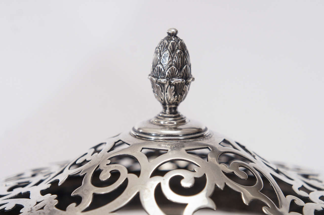 American Hawkes Centerpiece with Gorham Sterling Silver Mount and Flower Frog-Grogan Co. For Sale