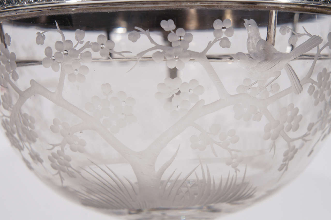 Crystal Hawkes Centerpiece with Gorham Sterling Silver Mount and Flower Frog-Grogan Co. For Sale