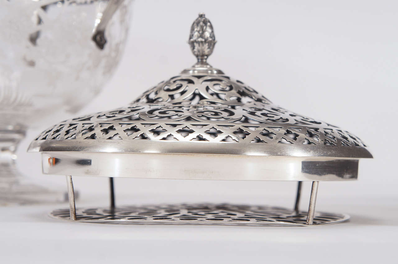 Hawkes Centerpiece with Gorham Sterling Silver Mount and Flower Frog-Grogan Co. For Sale 1