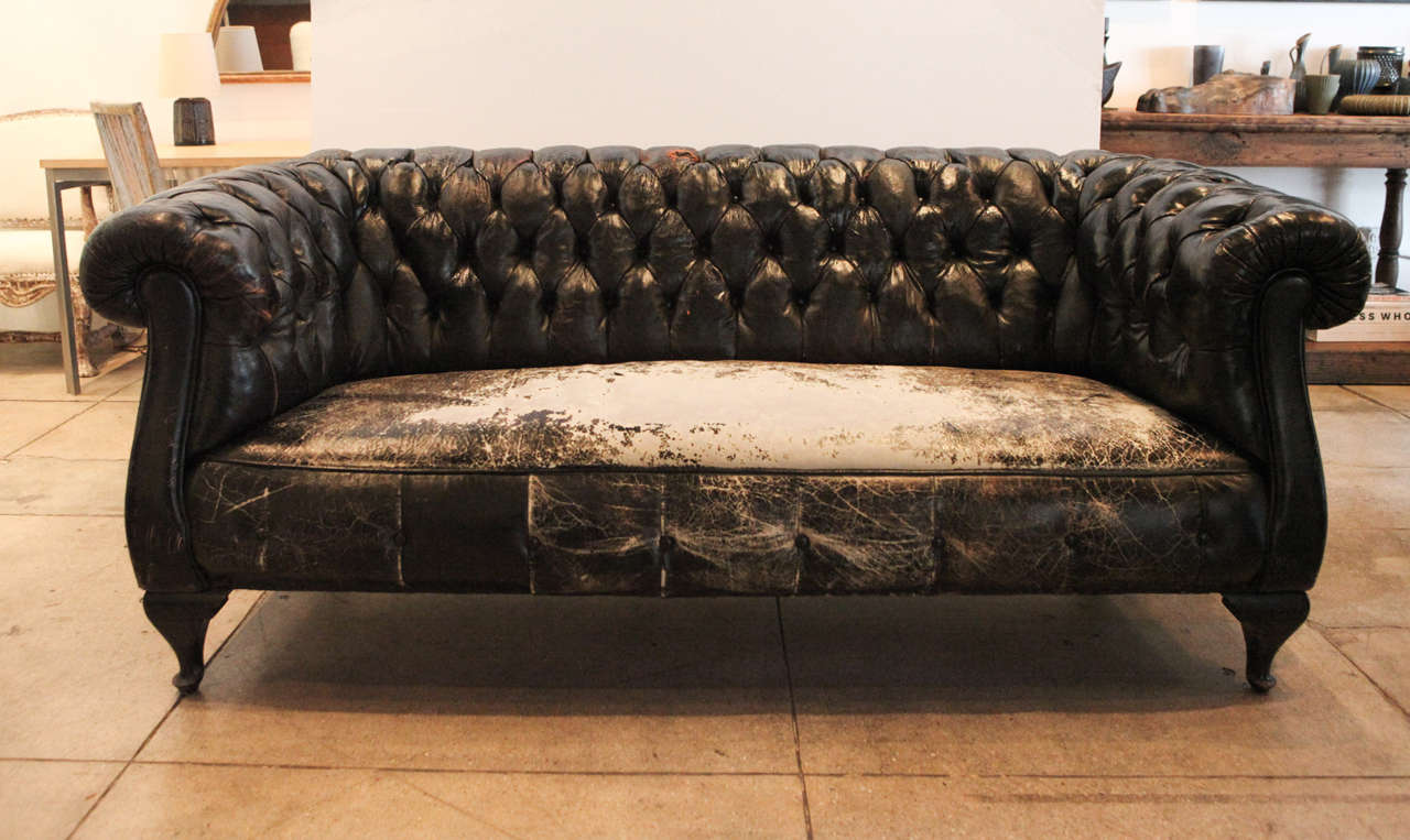 Swedish Black Leather Chesterfield Sofa Circa 1930 At 1stdibs