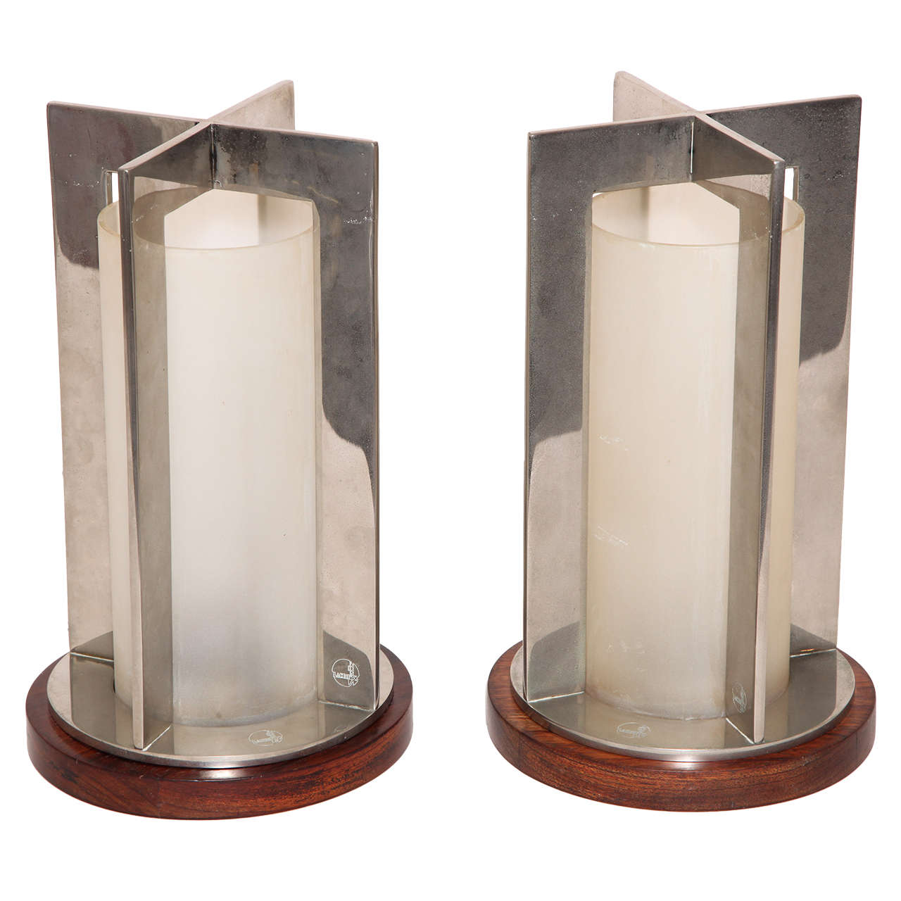 Boris Jean Lacroix Pair of French Art Deco Nickel and Frosted Glass Table Lamps
