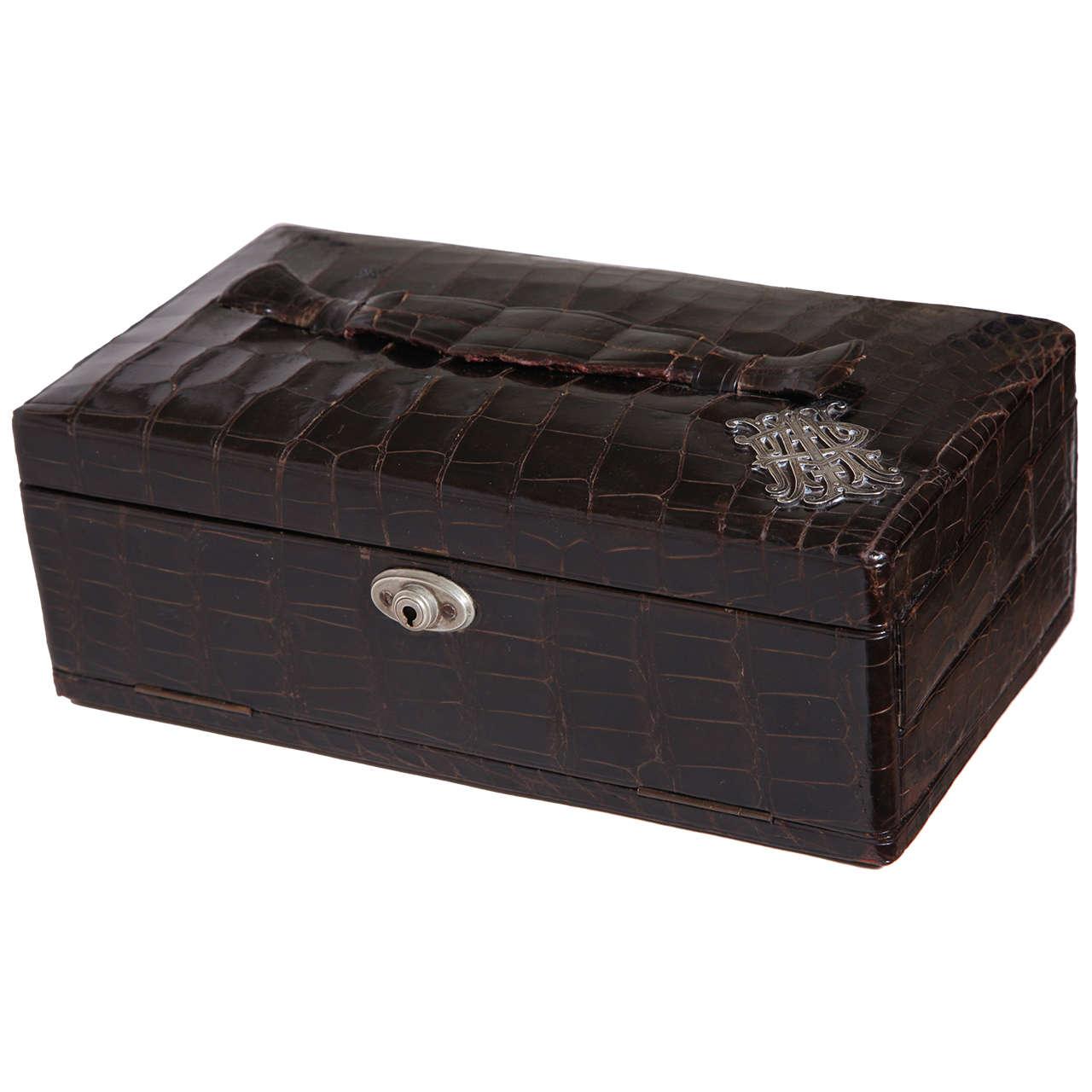 RW Forsyth Ltd Scottish Art Deco Alligator Jewelry Box For Sale