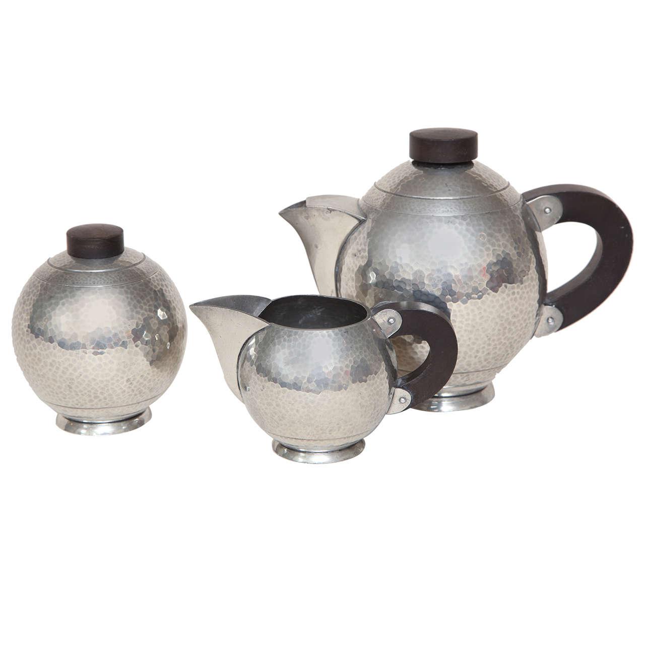 Rene Delavan French Art Deco Maillechort and Wood Three-Piece Tea Service
