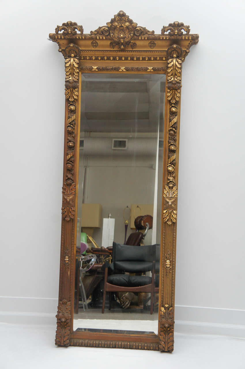 1800 39 s long gold gilded floor or mantle mirror at 1stdibs for 1800 floors