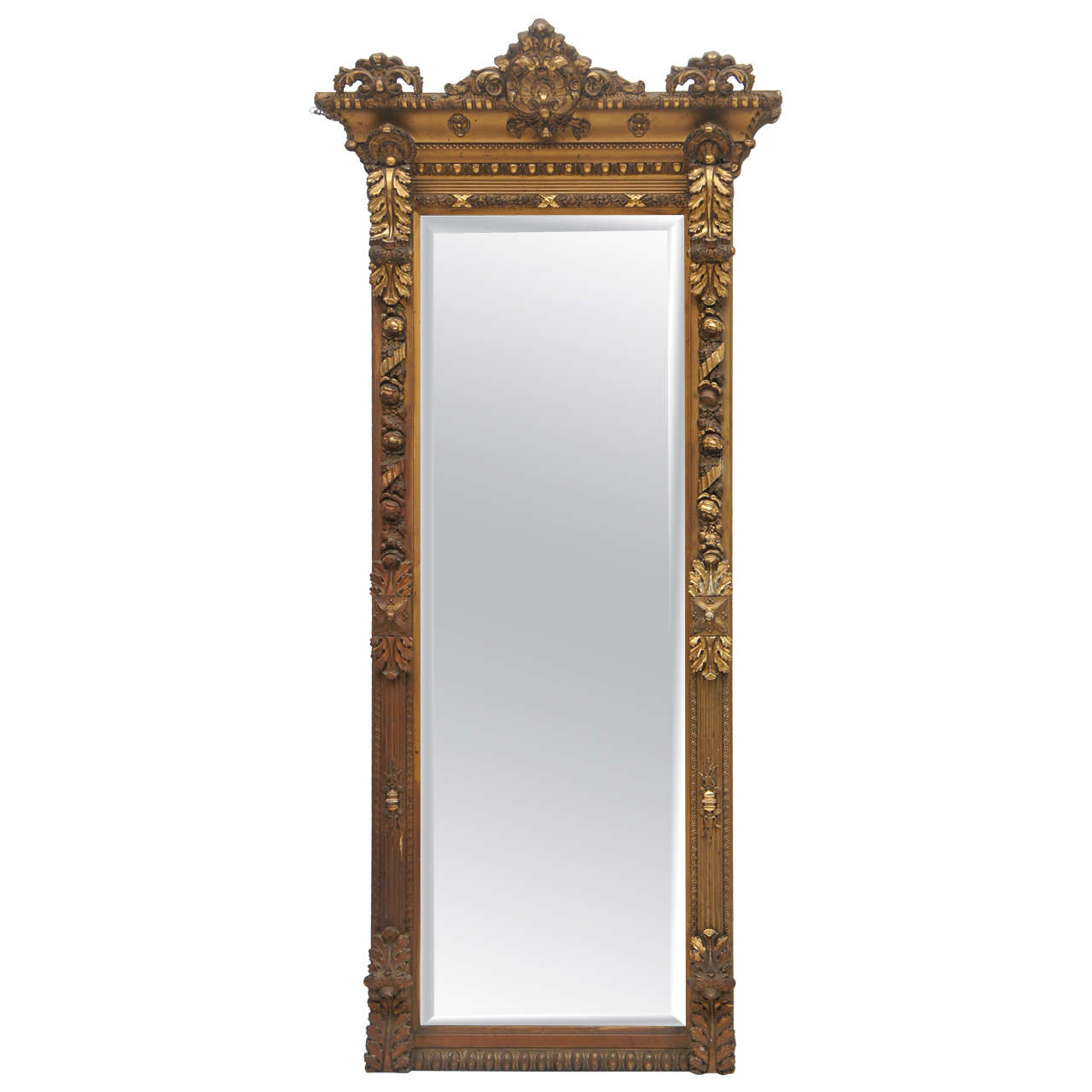 1800 39 s long gold gilded floor or mantle mirror at 1stdibs
