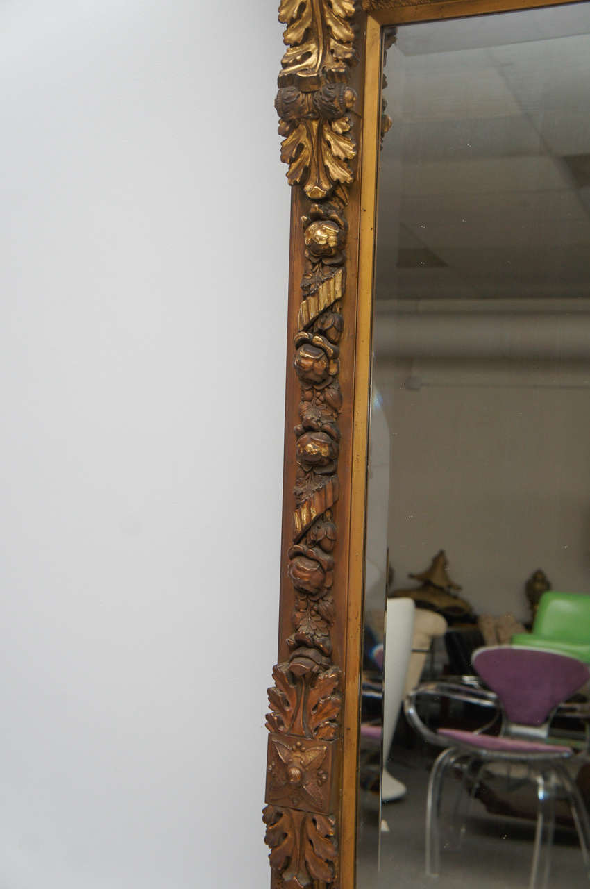 1800 S Long Gold Gilded Floor Or Mantle Mirror At 1stdibs