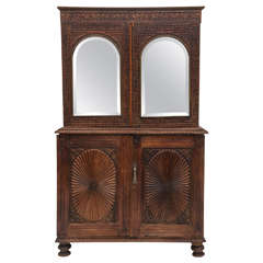 Hand carved secretary cabinet, wardrobe, entertainment center