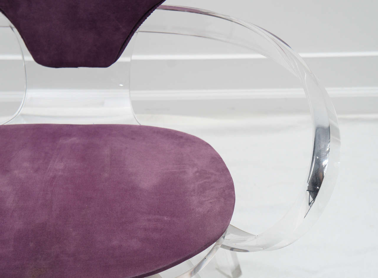 Late 20th Century set of 4 Lucite pretzel chairs, after Cherner     (available as single or pair) For Sale