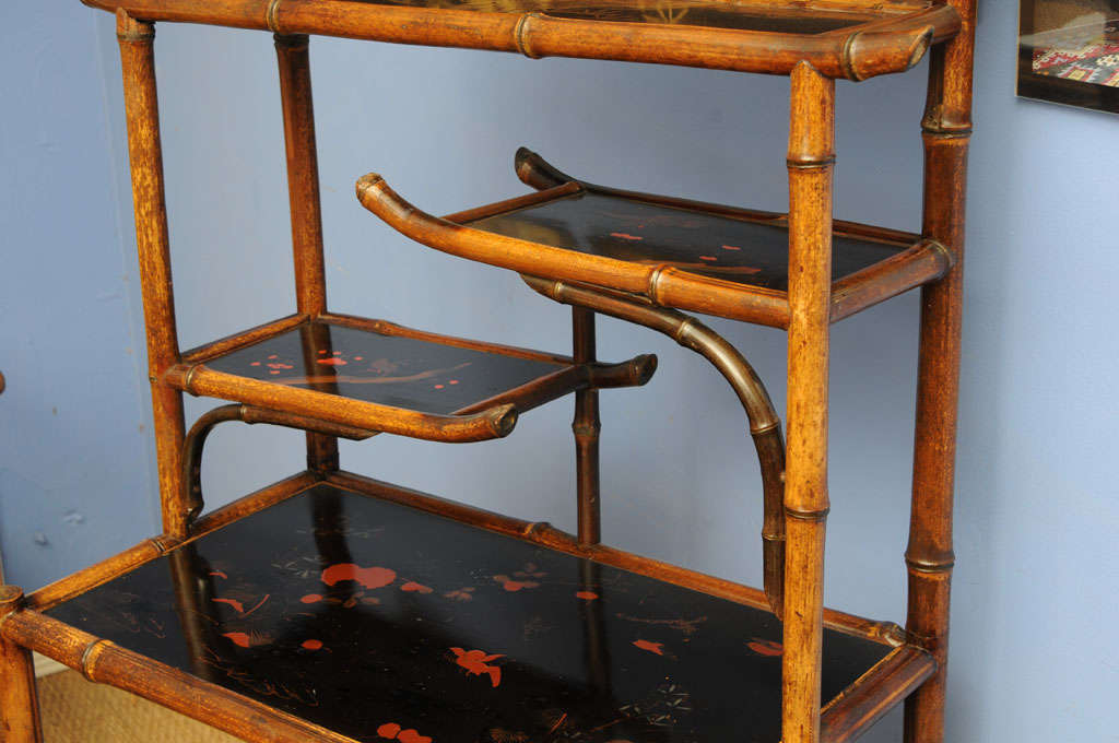19th Century Unique 19th English Century  Pagoda Bamboo Etagere For Sale