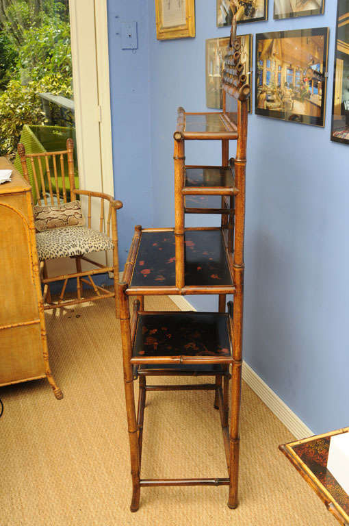 Unique 19th English Century  Pagoda Bamboo Etagere For Sale 3