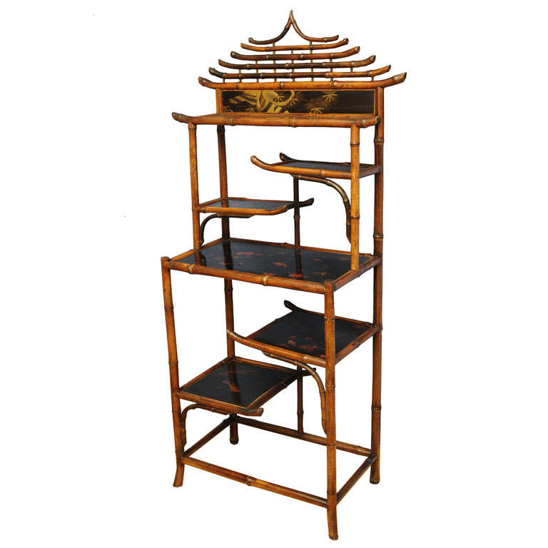 Unique 19th English Century  Pagoda Bamboo Etagere For Sale