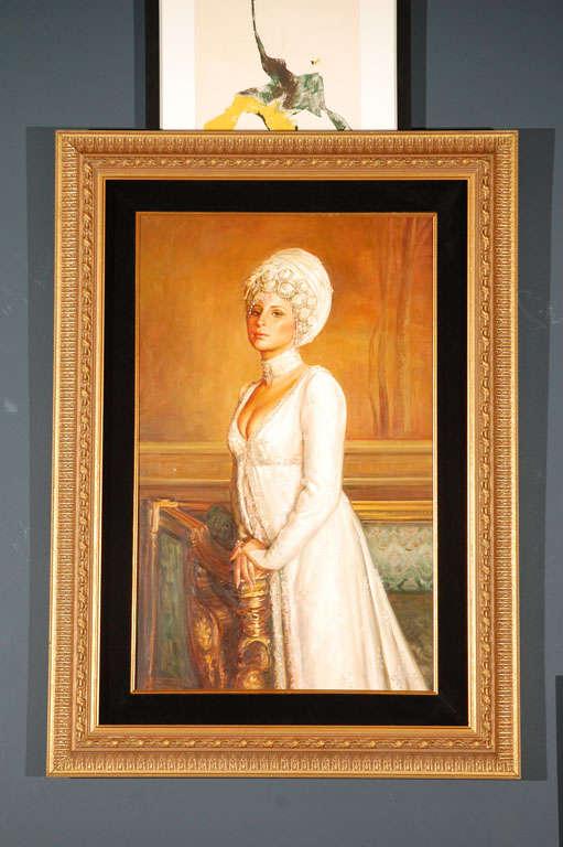 Ornate Framed Oil Portrait of Barbara Streisand image 2