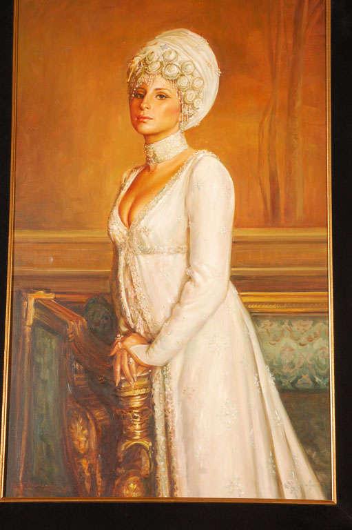 Ornate Framed Oil Portrait of Barbara Streisand image 5