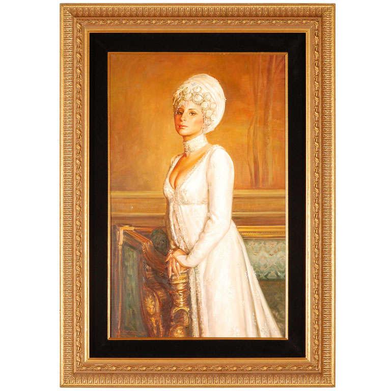 Ornate Framed Oil Portrait of Barbara Streisand