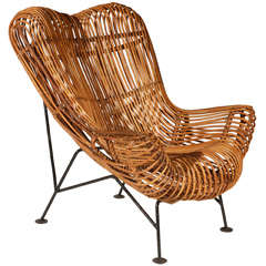 A Rattan Lounge Chair in the Style of Franco Albini