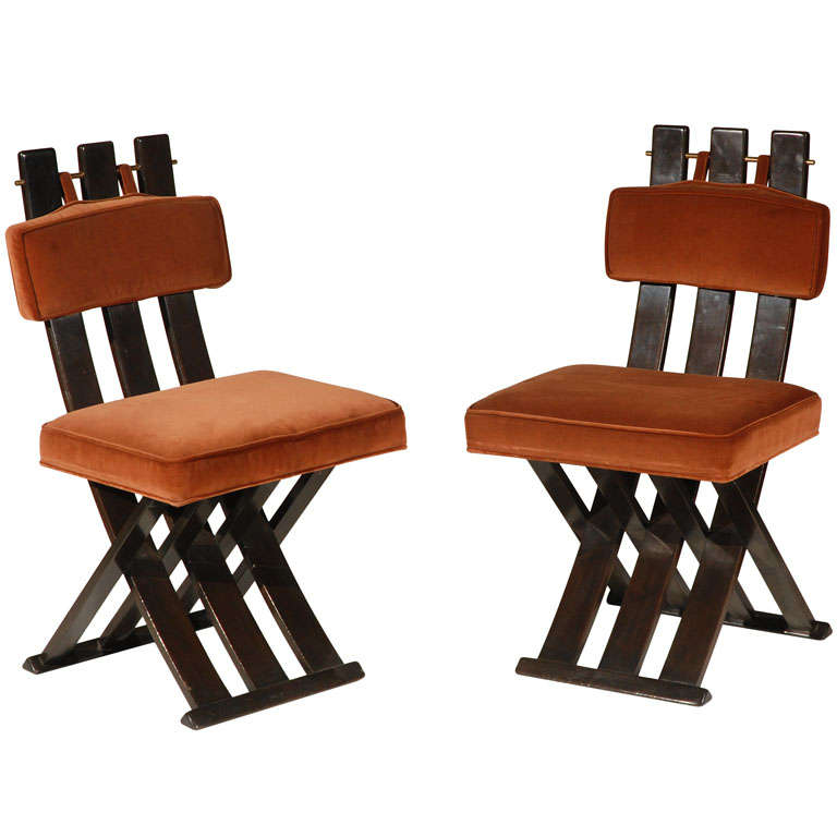 A Set of Six 1960s X-Base Dining Chairs by Harvey Probber