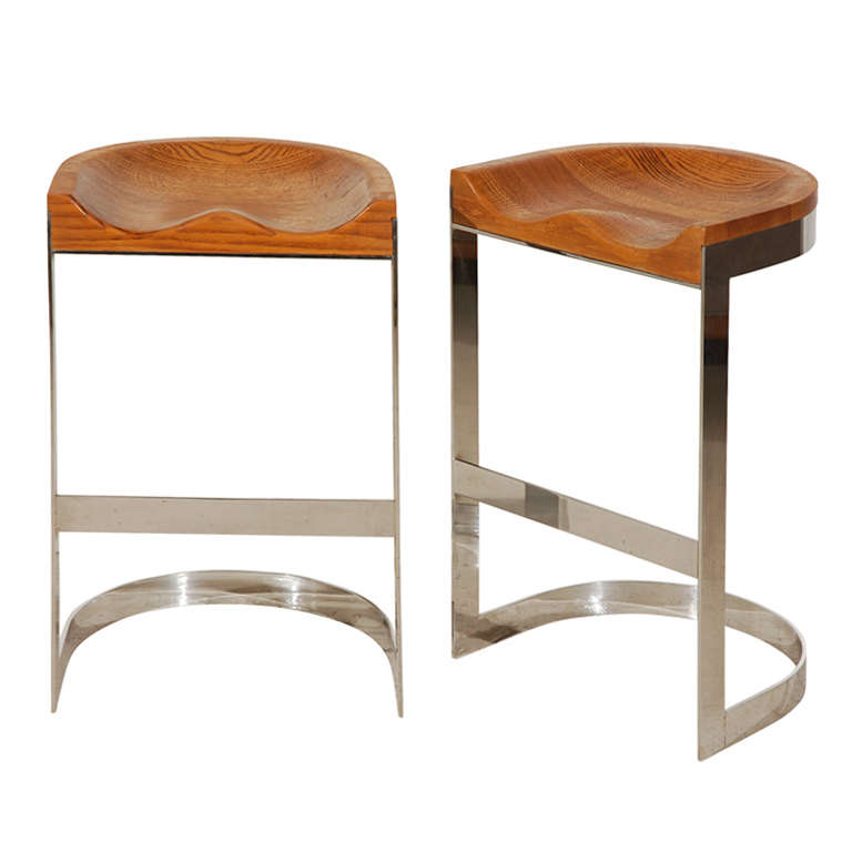 Pair Of Solid Oak And Chrome Bar Stools At 1stdibs