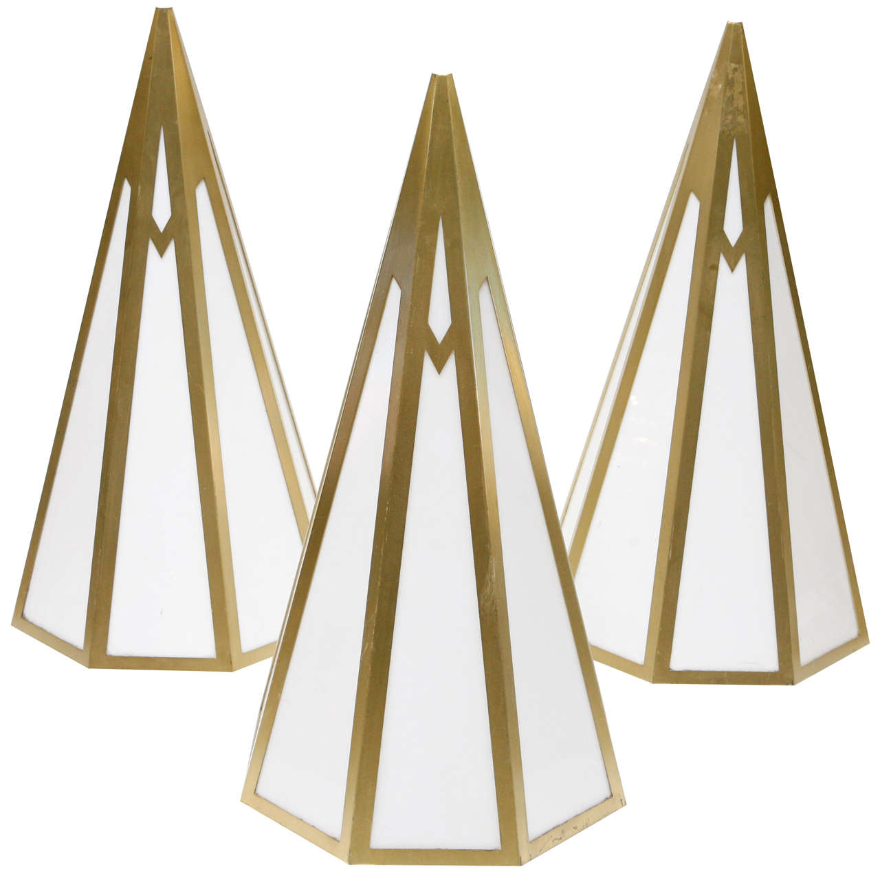 Art Deco Gold And Acrylic Pyramid Sconces At 1stdibs