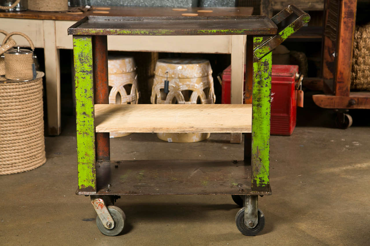 Industrial painted iron factory cart c. 1920-40 2