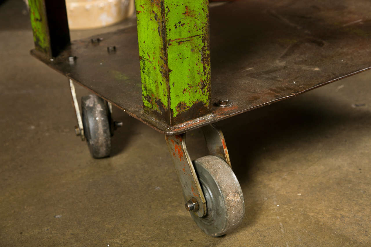 Industrial painted iron factory cart c. 1920-40 3