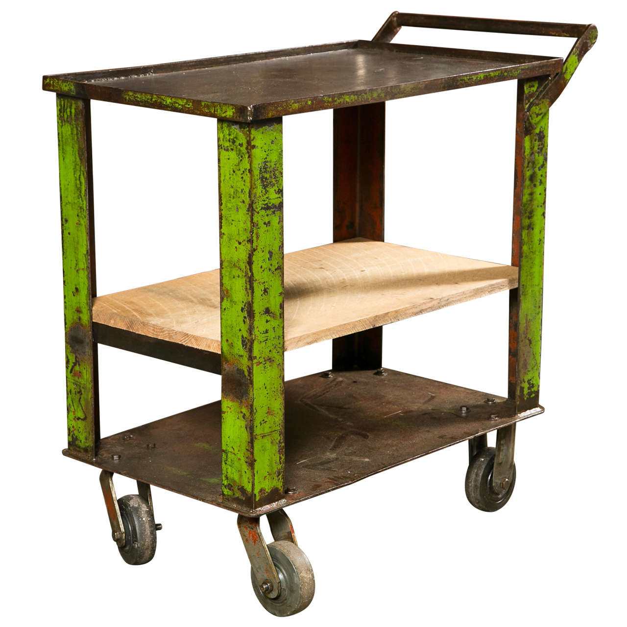 Industrial painted iron factory cart c. 1920-40 1