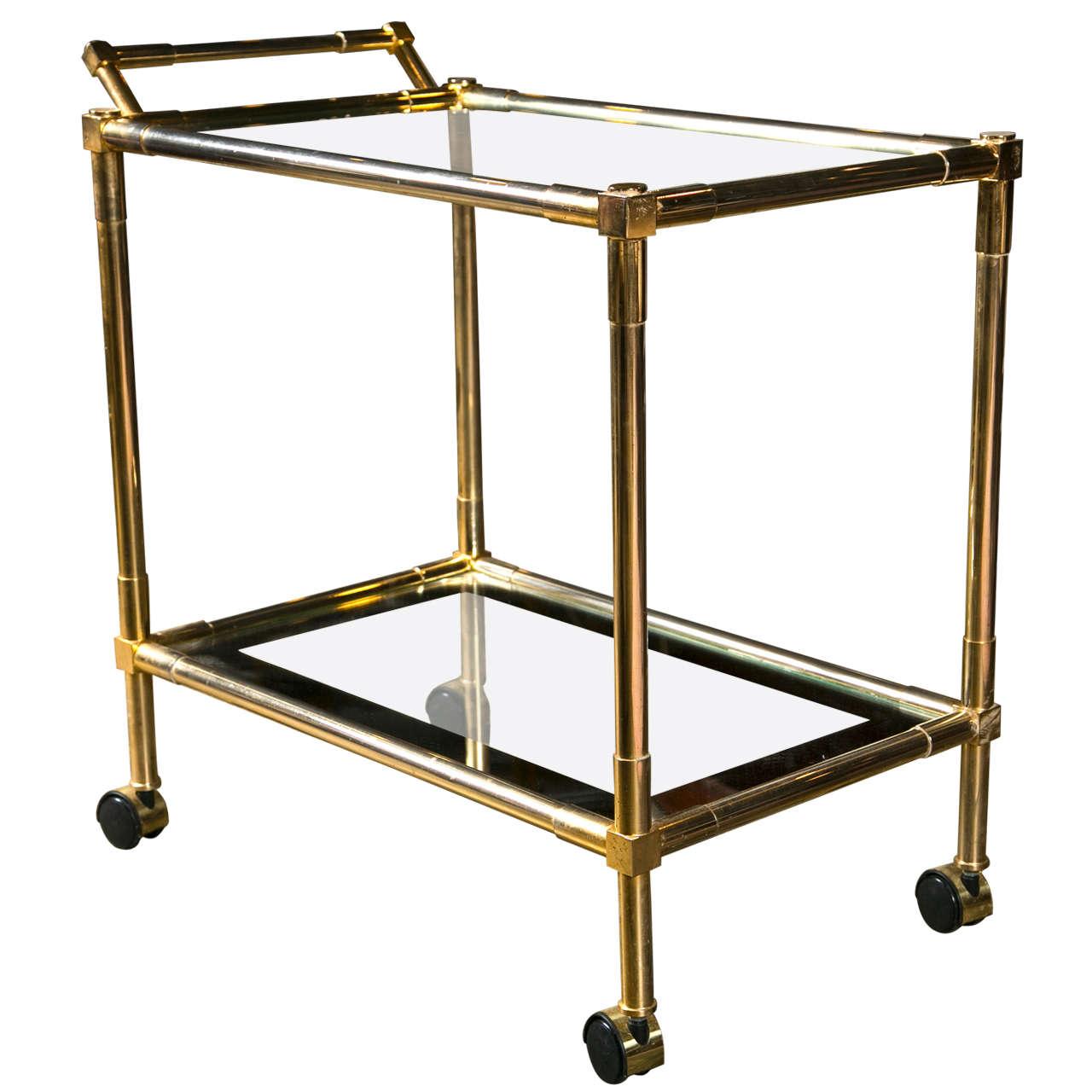 vintage brass serving or bar cart c 1970 at 1stdibs. Black Bedroom Furniture Sets. Home Design Ideas