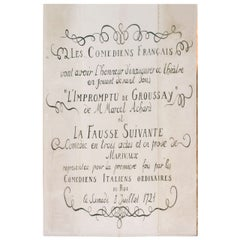 French Stage Size Playbill from Theater in Chateau de Groussay